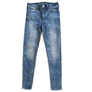 American Eagle Blue Star Hi Rise Jeggings Jeans 2